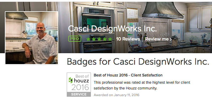 Casci DesignWorks Earns Houzz Award (again!)